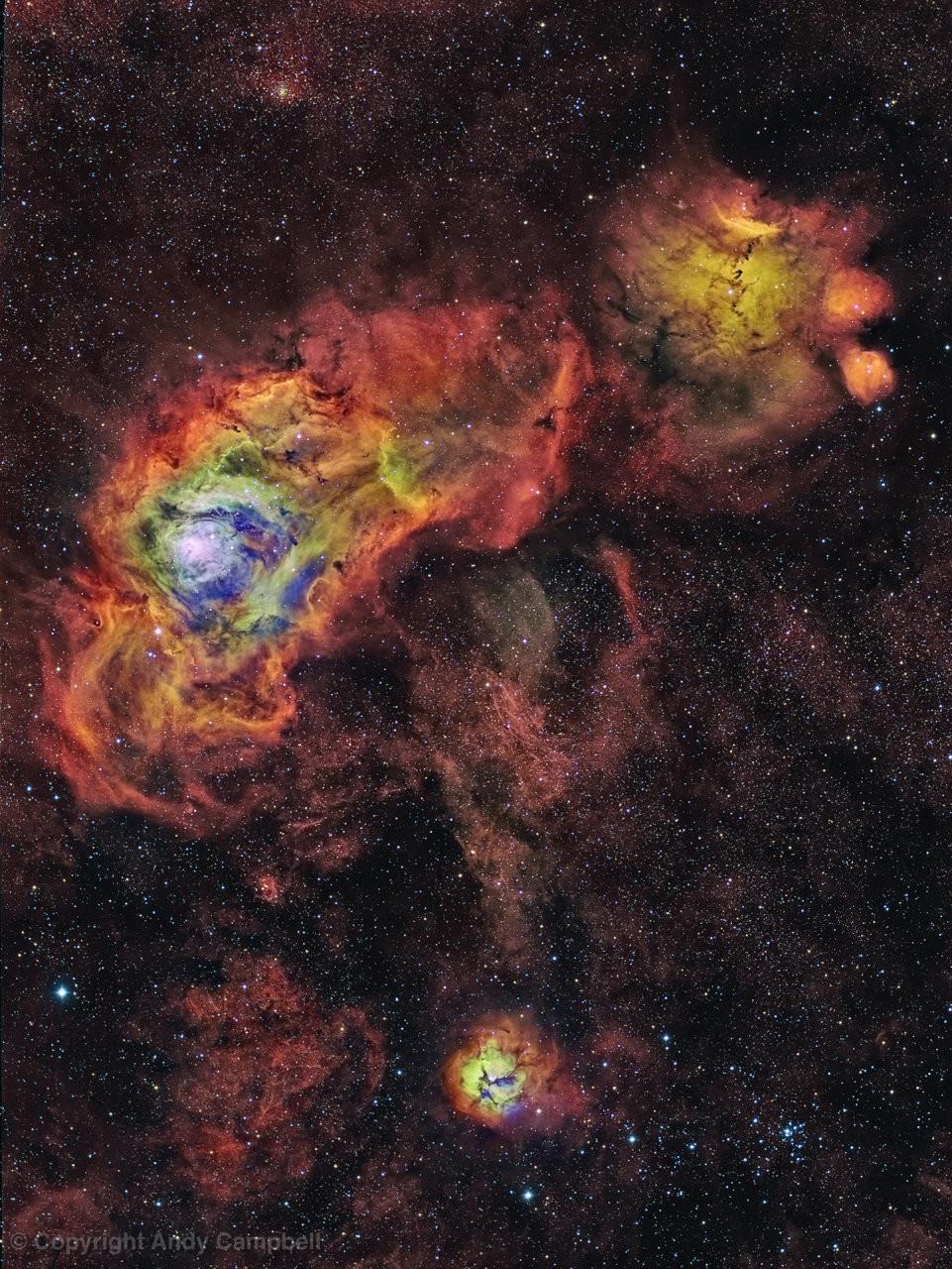 nebula M20, M8 & NGC 6334 narrowband image sagittarius